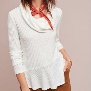 Anthropologie Maeve XS Winterscape Cowl Neck Top